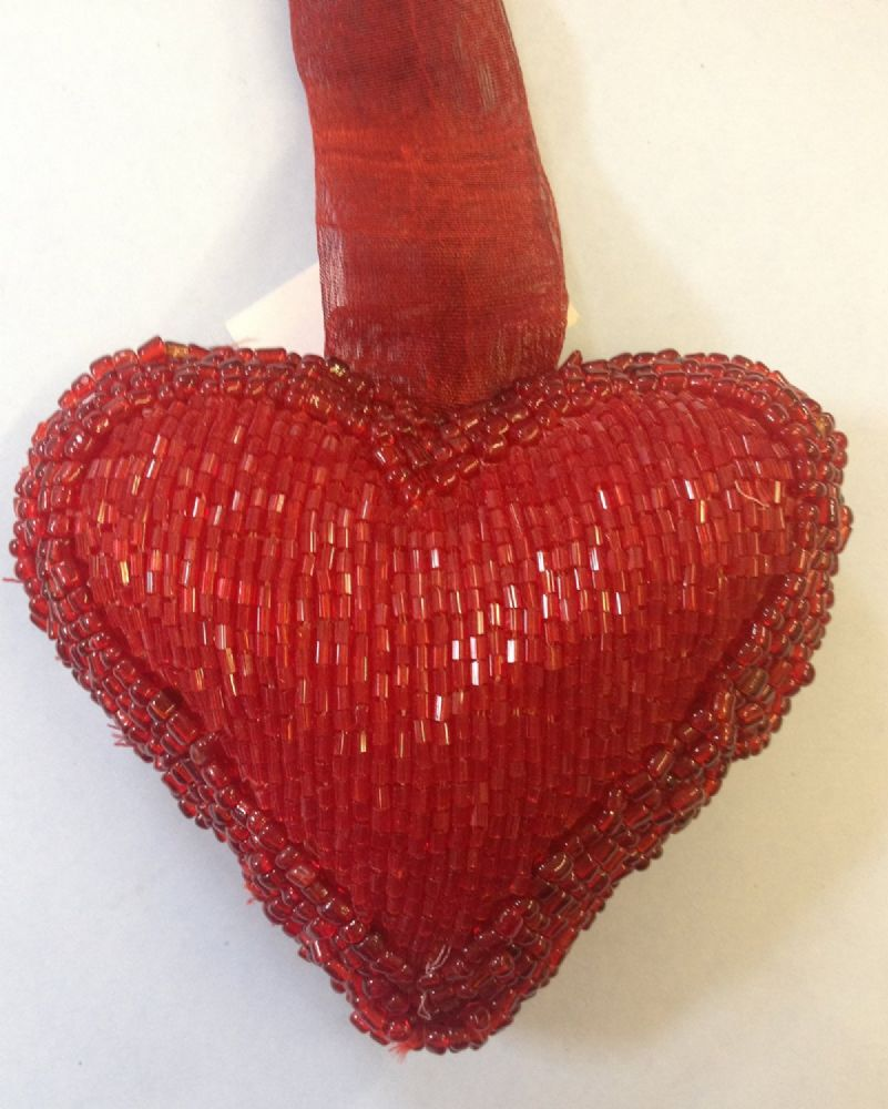 Red Beaded Hanging Heart Home Decoration - Style B